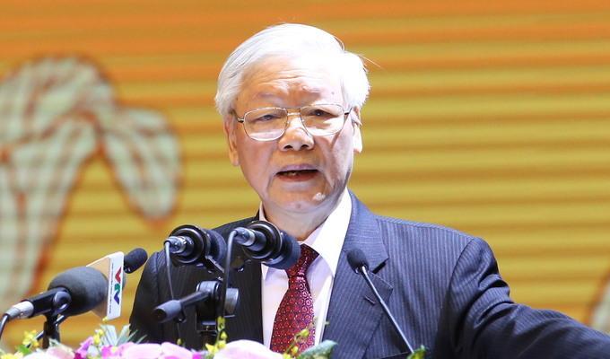 Tổng bí thư, Chủ tịch nước phát biểu tại lễ kỷ niệm 90 năm Mặt trận Tổ quốc Việt Nam.