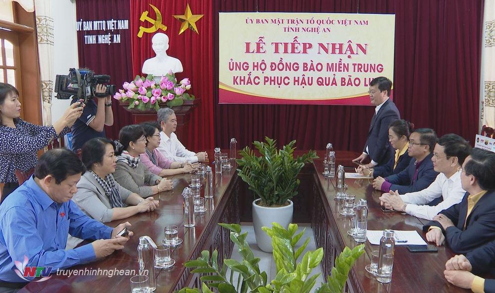 Đồng chí Nguyễn Đức Trung - Phó Bí thư Tỉnh ủy, Chủ tịch UBND tỉnh Nghệ An phát biểu cảm ơn đoàn công tác.
