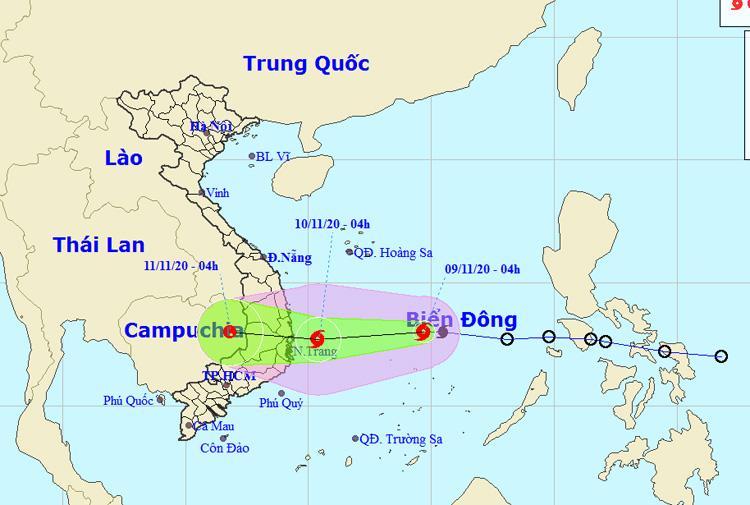 Vị trí và đường đi của bão số 12. (Cập nhật lúc 5 giờ ngày 9/11).Nguồn: NCHMF