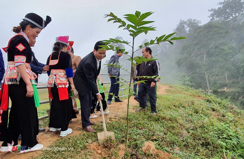 Chủ tịch UBND huyện Kỳ Sơn trồng cây hưởng ứng Ngày hội đo
