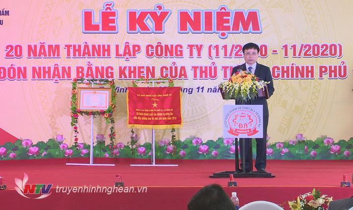 Phó Chủ tịch UBND tỉnh Bùi Đình Long phát biểu tại lễ kỷ niệm.