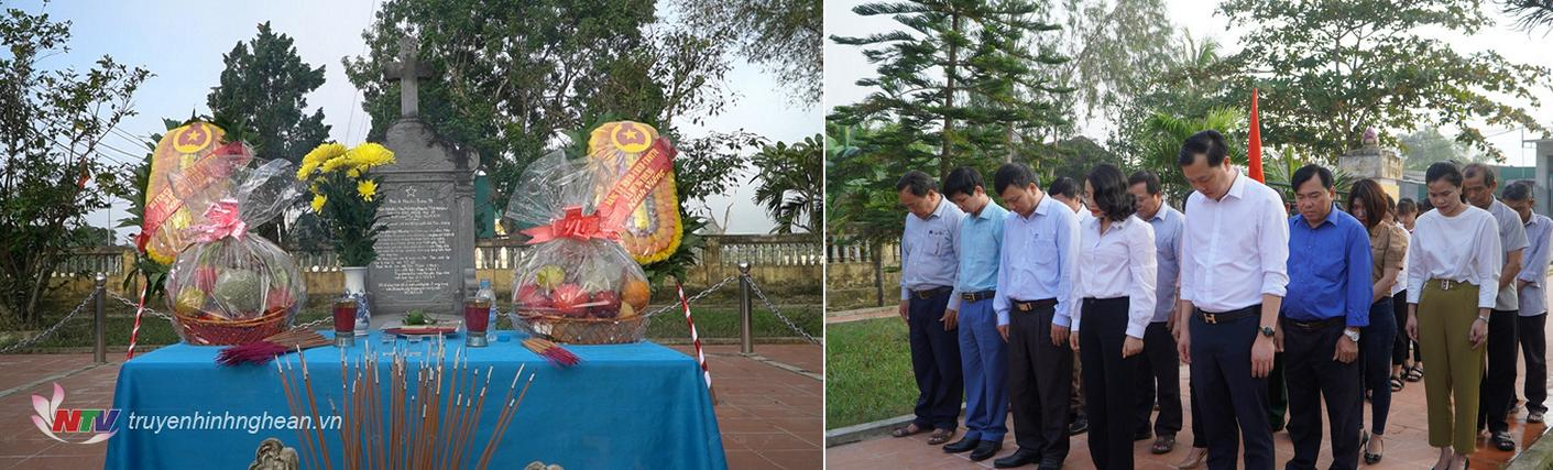 Lãnh đạo huyện Hưng Nguyên dâng hoa, dâng hương trước phần mộ Nhà canh tân yêu nước Nguyễn Trường Tộ.