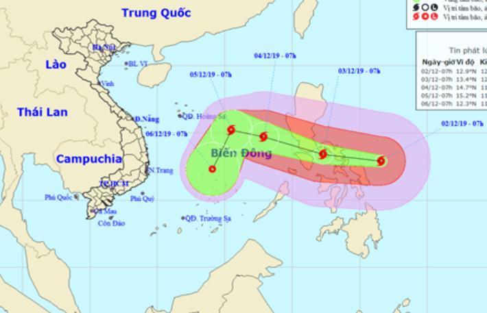 Dự báo vị trí và đường đi của bão Kammuri.