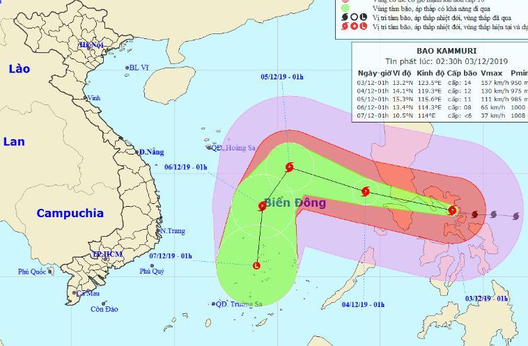 Vị trí và đường đi của bão Kamuri lúc 2h30 ngày 3/12.