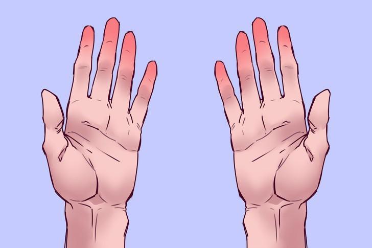 Kết quả thứ 1: Nếu ngón tay của bạn bị đỏ thì đây là tin tốt. Điều này có nghĩa bạn không gặp phải vấn đề liên quan đến lượng oxy trong máu, như vậy tim của bạn hoàn toàn khỏe mạnh và máu lưu thông đều.