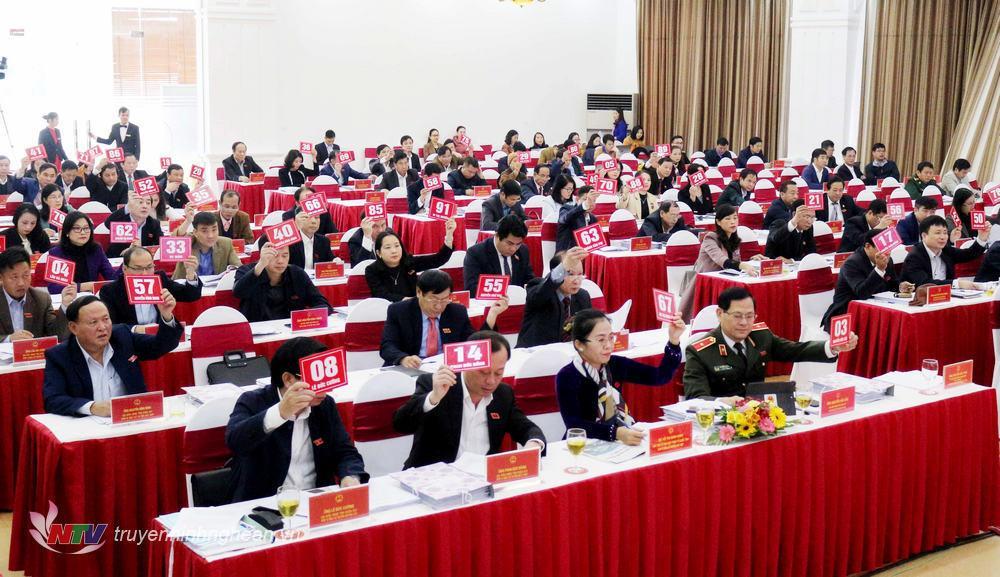 Các đại biểu biểu quyết thông qua Nghị quyết về