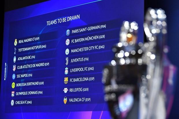 Kết quả bốc thăm vòng 1/8 Champions League. (Nguồn: UEFA)
