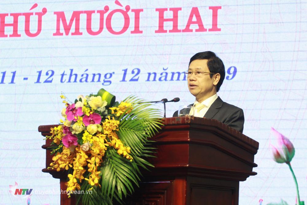Đồng chí Nguyễn Xuân Sơn - Phó Bí thư Thường trực Tỉnh ủy, Chủ tịch HĐND tỉnh đọc lời khai mạc kỳ họp.