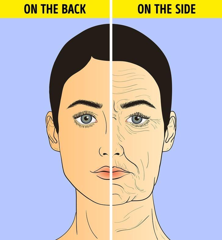 Các nghiên cứu đã chỉ ra rằng, ngủ nghiêng thường xuyên hay nằm sấp có thể gây ra những nếp nhăn trên khuôn mặt của bạn. Nằm ngửa là biện pháp tốt nhất để tránh nếp nhăn, nhưng bạn hãy tham khảo cách đệm thêm gối khi nằm ngửa như ở trên.