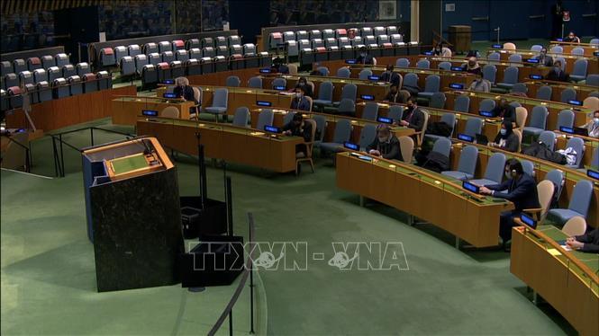 Quang cảnh cuộc họp của Đại hội đồng Liên hợp quốc thông qua Nghị quyết Ngày quốc tế sẵn sàng chống dịch bệnh.