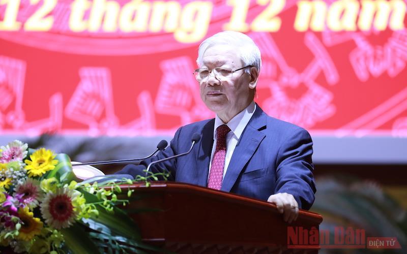 Tổng Bí thư, Chủ tịch nước Nguyễn Phú Trọng, Trưởng Ban Chỉ đạo Trung ương về phòng chống tham nhũng phát biểu tại hội nghị.