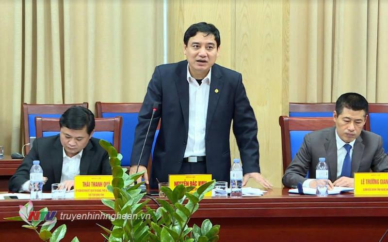 Bí thư Tỉnh ủy Nguyễn Đắc Vinh phát biểu tại buổi làm việc.