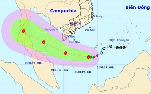 Vị trí và hướng đi của cơn bão số 1. (Ảnh: Trung tâm DBKTTVTW)