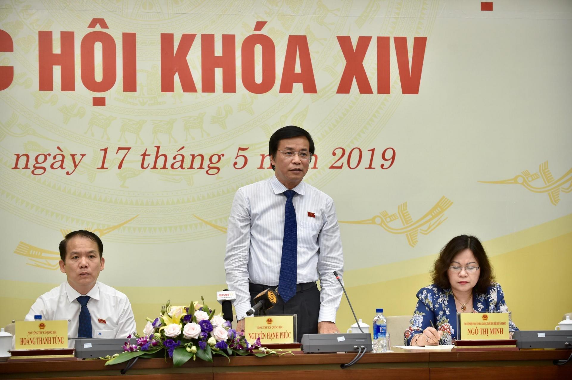Lãnh đạo Văn phòng Quốc hội thông tin về kỳ họp thứ 7. Ảnh: VGP/Nhật Bắc
