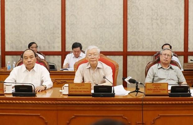 Tổng Bí thư, Chủ tịch nước Nguyễn Phú Trọng chủ trì cuộc họp của Bộ Chính trị. Ảnh: TTXVN