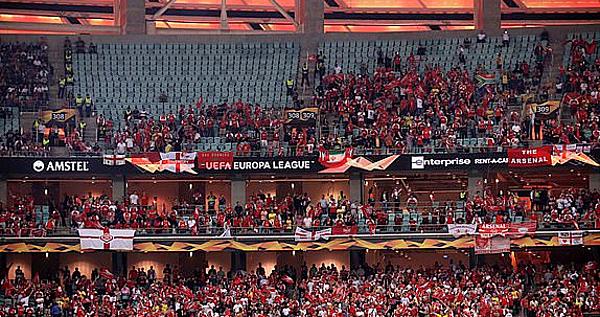 Với khán đài có nhiều ghế trống ở trận chung kết Europa League, UEFA bị chỉ trích. Ảnh: PA.