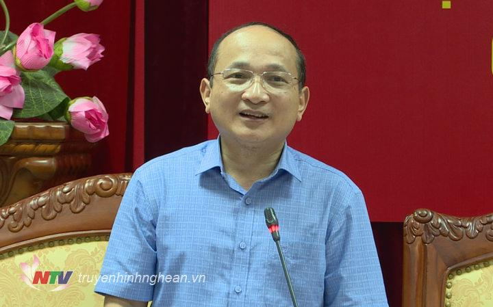 Phó trưởng đoàn đại biểu Quốc hội tỉnh Nguyễn Thanh hiền phát biểu tại hội nghị.