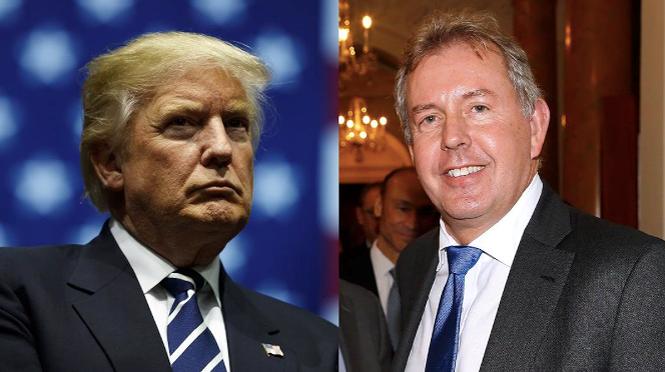 Đại sứ Kim Darroch (phải) và Tổng thống Mỹ Donald Trump. Ảnh: Huffington Post