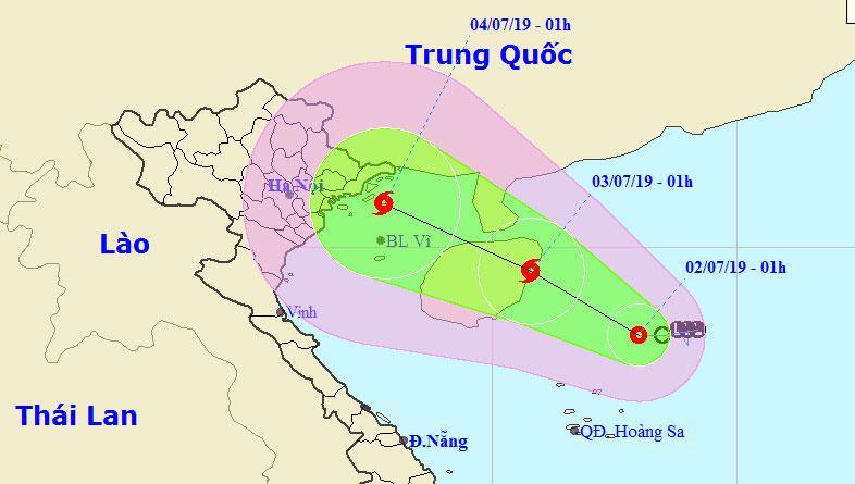 Dự báo đường đi và khu vực ảnh hưởng của áp thấp nhiệt đới. Ảnh: NCHMF