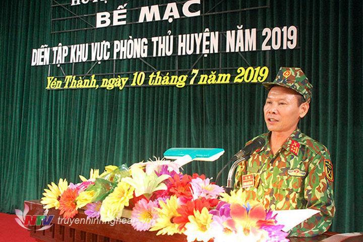 Đại tá Dương Minh Hiền - Phó Chỉ huy trưởng Bộ chỉ huy quân sự tỉnh Nghệ An  đánh giá cuộc diễn tập.