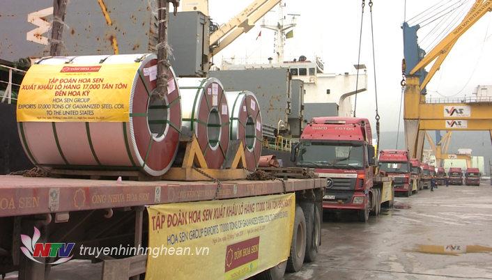 Kết thúc năm 2018, tổng sản lượng tiêu thụ của Nhà máy Hoa Sen Nghệ An đạt trên 637 nghìn tấn, trong đó xuất khẩu đạt gần 200 nghìn tấn, riêng sản lượng xuất khẩu đi thị trường Mỹ đạt 135 nghìn tấn.