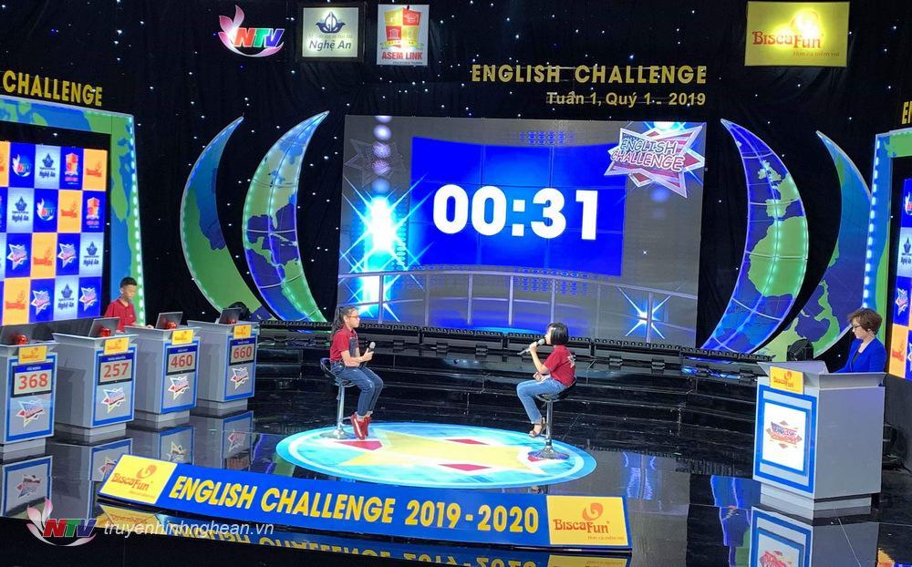 Tuyết Thảo (trái) tranh luận với bạn chơi trong phần thi SPEED