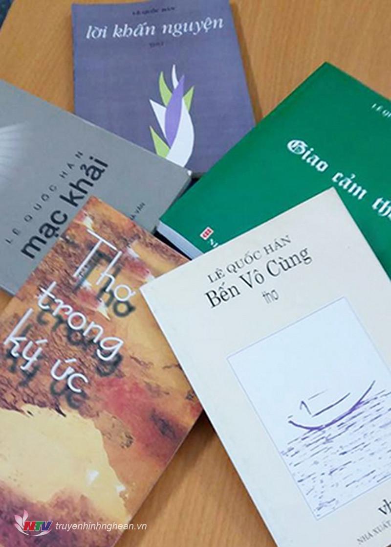 Những tập thơ đã xuất bản của nhà thơ Lê Quốc Hán.